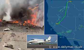 Three killedafter private jet crashes and explodes into a fireball near California golf course