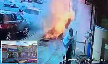 Moment New York man, 57, is badly burned after being engulfed by huge fireball on Queens sidewalk