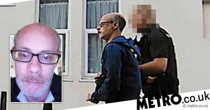 Paedophile marched down street in handcuffs after talking to 'schoolgirl'