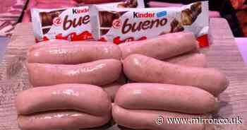 Butcher totally bemuses customers by selling 'Kinder Bueno sausages'