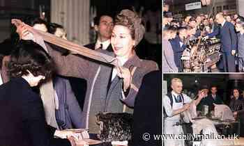 Moment delighted Selfridges shopper got her hands on pair of nylon tights in 1946