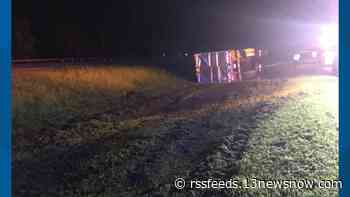 Tractor-trailer overturns near Route 58 at Pruden Boulevard in Suffolk