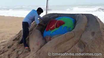 World Hepatitis Day 2021: Sand Artist Manas Kumar Sahoo marks the day with sand art