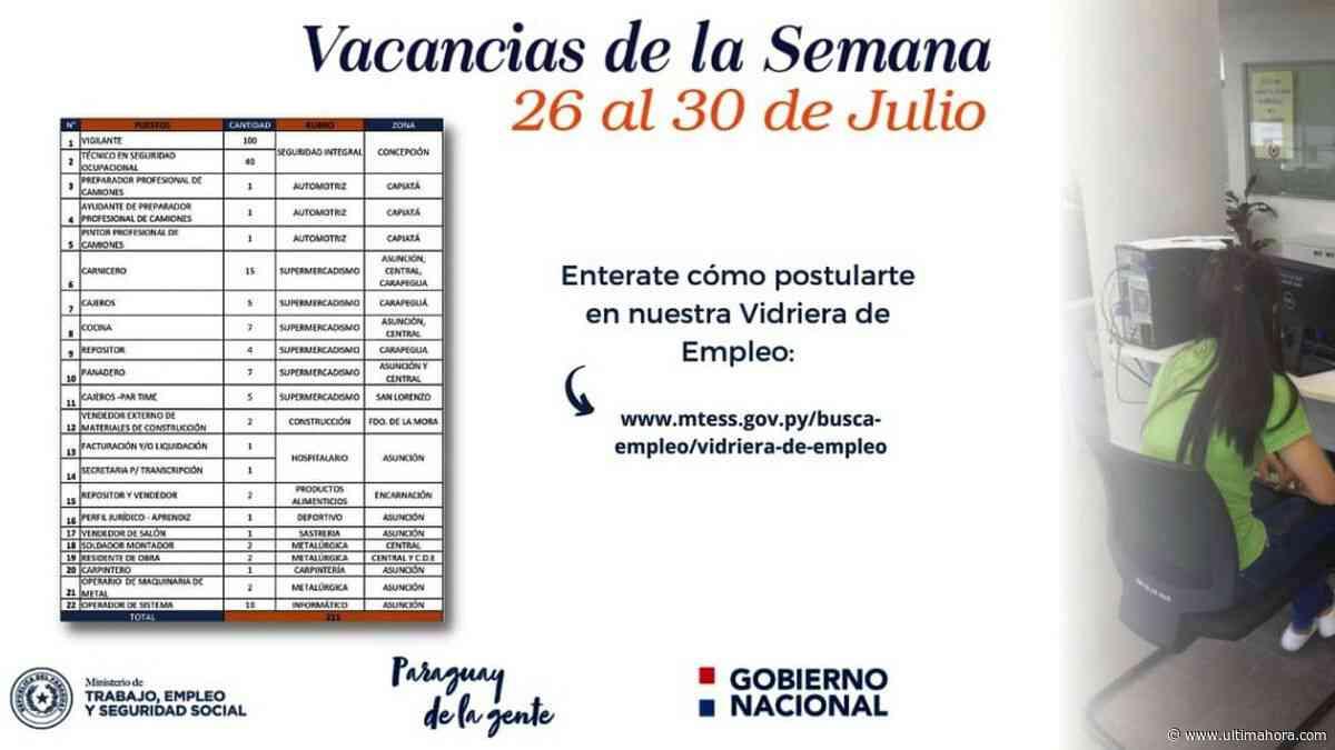 Concepción: Hay 140 vacancias laborales - ÚltimaHora.com