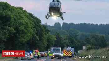 Teenager dies and three others hurt in A96 crash