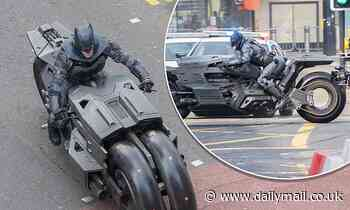 The Flash: Body double dons Batman's iconic caped outfit to drive a motorcycle through Glasgow