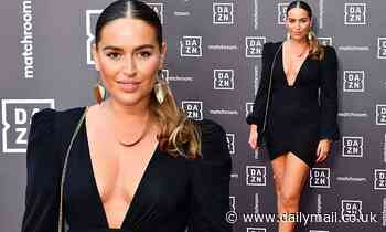 TOWIE's Chloe Ross puts on a leggy display in a plunging black minidress and Valentino heels