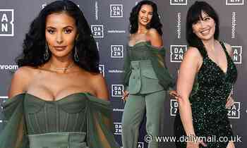 Maya Jama pours curves into a busty khaki corset as Daisy Lowe dons sparkling emerald cocktail dress