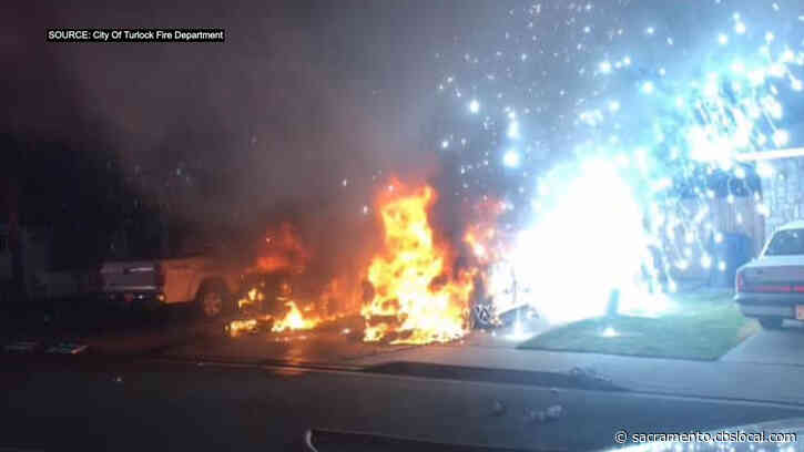 1 Hurt After Cars Catch Fire In Turlock Driveway