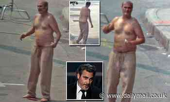 Joaquin Phoenix looks old for his years as he gets into character for Disappointment Blvd