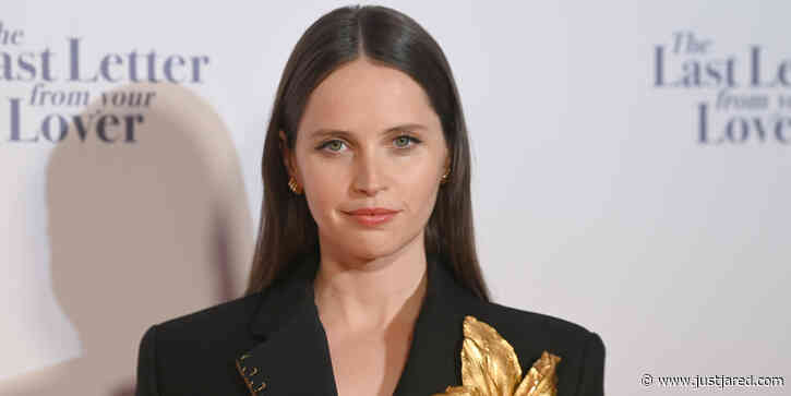 Felicity Jones Adds A Golden Flower To Her 'Last Letter From Your Lover' Premiere Suit