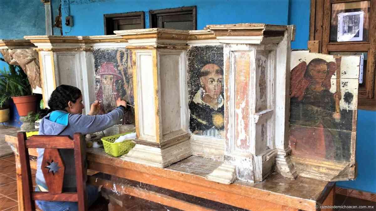 Culminan trabajos de restauración del retablo del Templo de Santa María Huiramangaro - Cambio de Michoacán