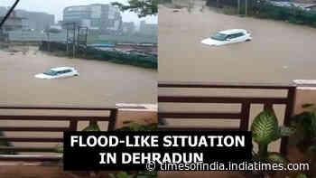 Watch: Car drown after heavy rainfall causes flood-like situation in Dehradun