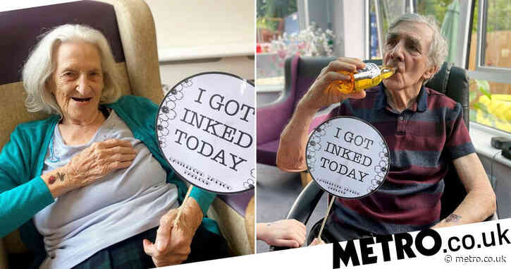 Care home residents get 'inking and drinking' day with makeshift tattoos and beer