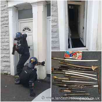 Zombie knives, knuckle dusters, cannabis and class A drugs found in Darwen house raid