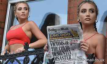 Love Island's Georgia Harrison flaunts her abs while reading the Daily Mail in isolation