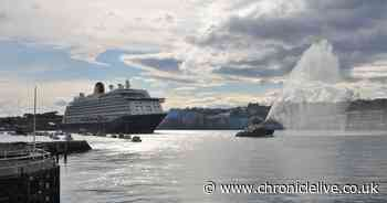 Cruise ship Spirit of Adventure departs from Tyne with water cannon display