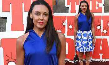 Michelle Heaton is a vision in blue and white on red carpet at the Suicide Squad screening in London
