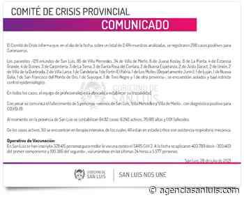 Son 296 los casos de Coronavirus registrados este miércoles - Agencia de Noticias San Luis