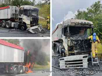 Shocking images show HGV engulfed in flames on A59