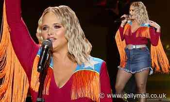 Miranda Lambert brings the drama in orange fringed shirt and glitter tights at CMA Summer Jam