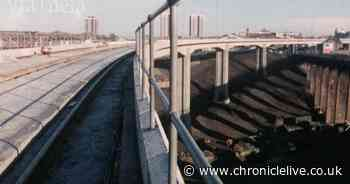 Byker Metro Viaduct in Newcastle's East End under construction in 1980 film clip