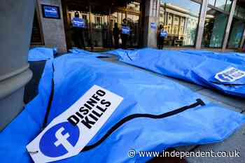Bodybag protest held outside Facebook HQ over Covid disinformation