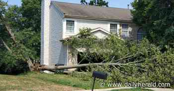 Storm damage causing power outages throughout area and Route 25 lane closures in East Dundee