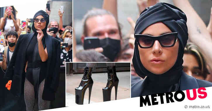 Lady Gaga is an absolute fashion queen as she dares to pair nine-inch heels with black leotard in New York