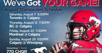 Calgary Stampeders: August schedule