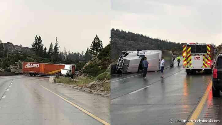 2 Big Rig Crashes Shut Down Eastbound I-80 Near Donner Lake