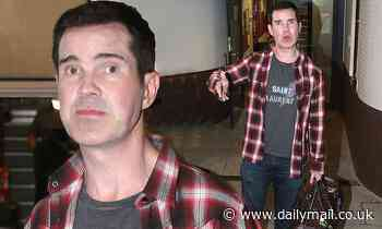 Jimmy Carr, 48, ditches his trademark suit for trendy Saint Laurent T-Shirt and Louis Vuitton gear - Daily Mail