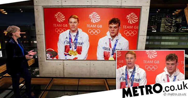 Celebrities wheezing as BBC's Clare Balding praises Team GB swimmers' 'phenomenal third leg' in innuendo gaffe
