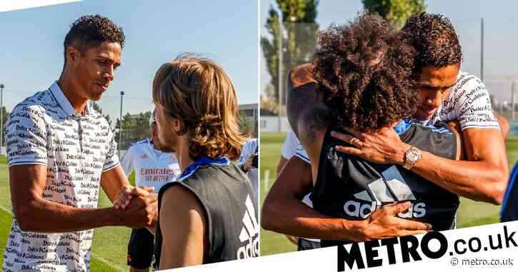 Manchester United new boy Raphael Varane bids farewell to Real Madrid teammates in emotional scenes