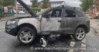 Motorbike and Audi left charred wrecks after both burst into flames in crash