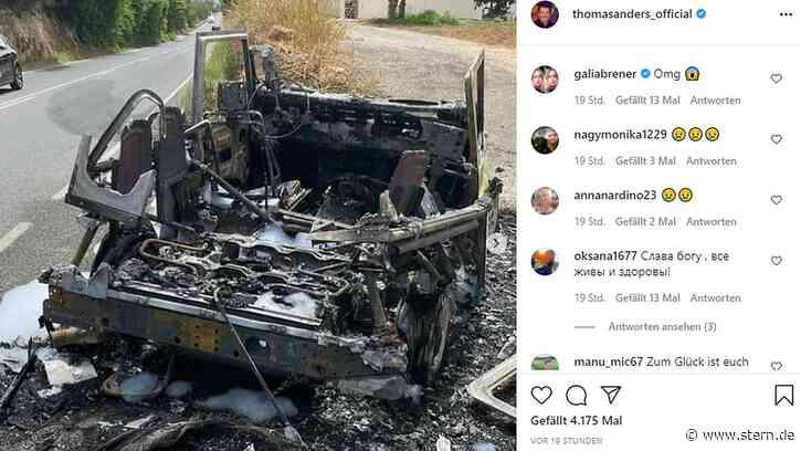 Schock für Thomas Anders und seinen Sohn – Auto brennt völlig aus - STERN.de