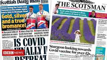 Scotland's papers: Vaccines for teens and Covid in 'retreat' - BBC News