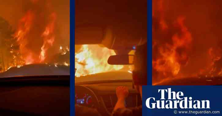 'We went through hell': friends taking food to firemen find road blocked by Turkish wildfire – video