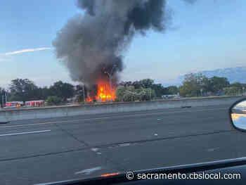Storage Facility Fire Sends Smoke Over Interstate 80
