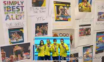 Inside the common room Australia's incredible swim team use to inspire each other before a race