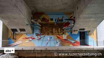 Cham: Wandbild unter Bärenbrücke zeigt Industriegeschichte in 3D - Luzerner Zeitung