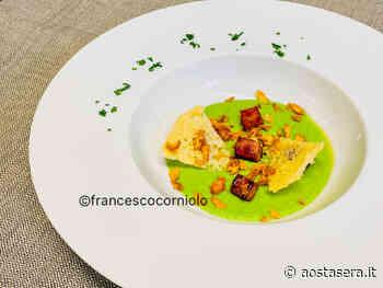 Crema di piselli, cuit de Saint-Oyen scottato, croccante di Parmigiano e chips di cipolla - AostaSera