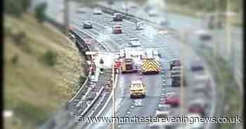 Fire crews race to the M62 after car bursts into flames