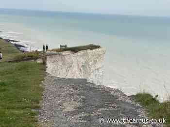 Warning as huge cliff fall at Birling Gap takes out path