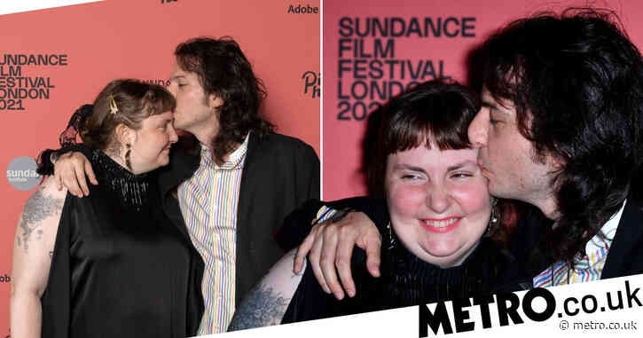 Lena Dunham and boyfriend Luis Felber look loved up as they make red carpet debut after confirming romance