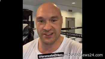 Tyson Fury looking angry sending a message to Deontay Wilder