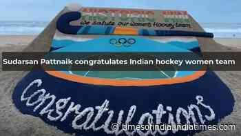 Tokyo Olympics: Sudarsan Pattnaik congratulates Indian hockey women team through sand art at Puri beach