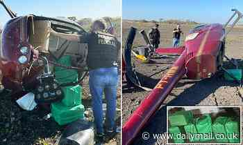 Helicopter owned by cop who earned $27,000-a-year is found crashed with 660 pounds of COCAINE inside