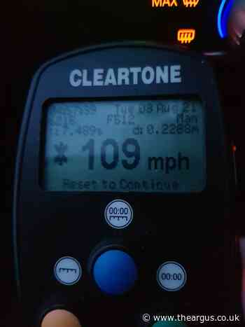 Driver reported after speeding at more than 100mph on A27