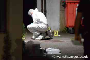 Forensics pictured in alleyway off Firle Road, Eastbourne after incident